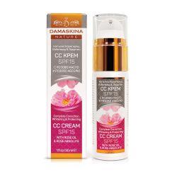 Избелващ CC крем за лице с розово масло и розово абсолю SPF 15 ДАМАСКИНА - 30мл